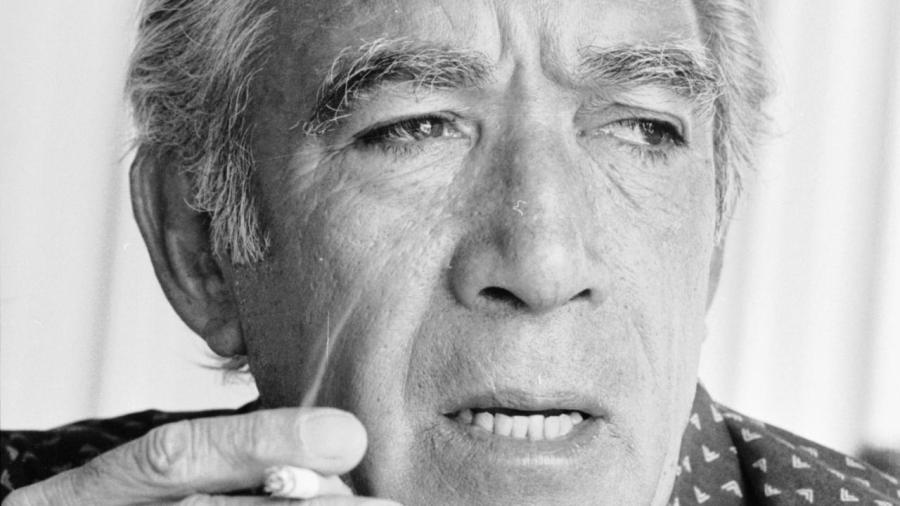 30th July 1976: Actor, Anthony Quinn (1915 - 2001), smoking a cigarette. (Photo by Graham Morris/Evening Standard/Getty Images)
