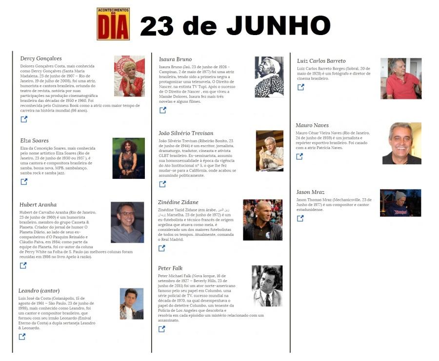 23 de junho - Acontecimentos do Dia