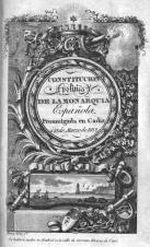 19 de Março - Frontispício de uma edição contemporânea da Constituição de Cádis.