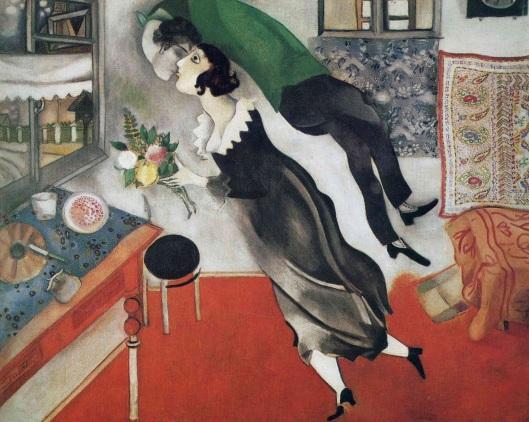 28 de Março - 1985 — Marc Chagall, pintor russo - obra 'The Birthday', de 1915.