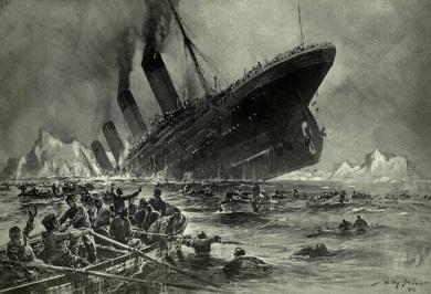 15 de Abril - 1912 — O navio RMS Titanic naufraga por volta das 02h20min após se chocar cerca de duas horas e quarenta minutos antes com um iceberg no Atlântico Norte.
