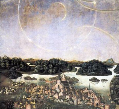20 de Abril - 1535 — O fenômeno óptico atmosférico do halo é observado sobre Estocolmo e retratado