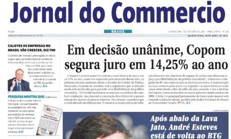 29 de Abril - 2016 — Última edição do Jornal do Commercio, o jornal mais antigo em circulação na América Latina.