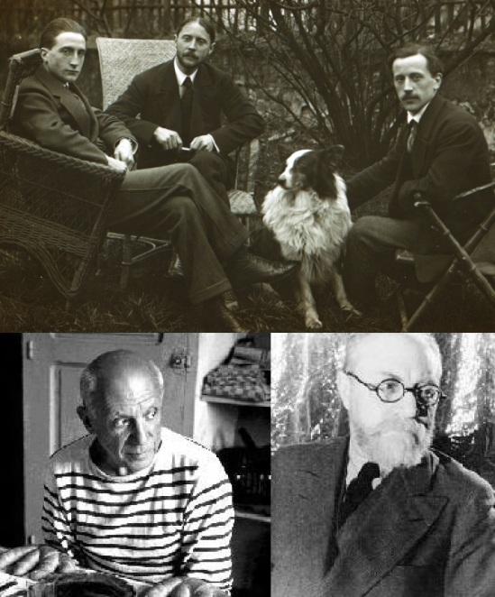 8 de Abril - 1973 — Pablo Picasso, pintor espanhol (n. 1881) - Foto-montagem com Picasso, Henri Matisse e Marcel Duchamp.