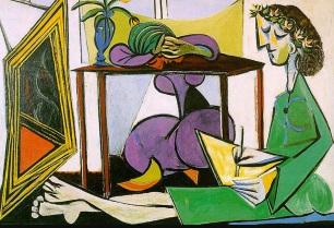 8 de Abril - 1973 — Pablo Picasso, pintor espanhol (n. 1881) - Interior com garota desenho, pintura à óleo sobre de Pablo Picasso (1881-1973, Espanha).