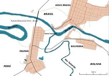 14 de Maio - A tríplice fronteira entre o Brasil (Assis Brasil), o Peru (Iñapari) e a Bolívia (Bolpebra).