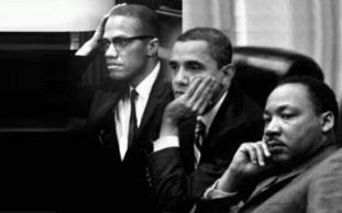 19 de Maio - Malcolm X, Barack Obama e Martin Luther King - fotomontagem.