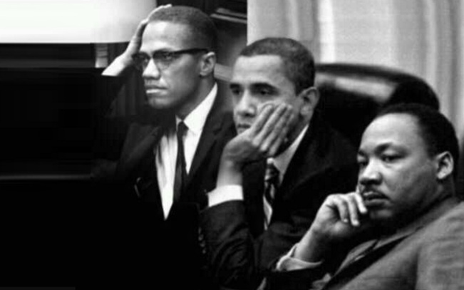 19 de Maio - Malcolm X, Barack Obama e Martin Luther King - fotomontagem.