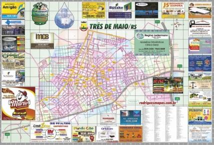 3 de Maio - Mapa comercial deTrês de Maio (RS).