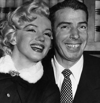 1 de Junho - Marilyn Monroe, atriz estadunidense, pb, casamento, wedding, Joe DiMaggio.