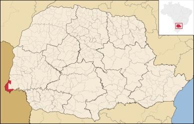 10 de Junho - Localização de Foz do Iguaçu no Paraná.
