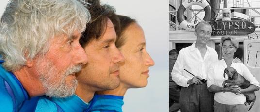 11 de Junho - Fotomontagem - À esquerda, Jean-Michel, Fabien e Celine Cousteau. à direita, Jacques Cousteau e a esposa Francine.