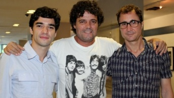 2 de Junho - 1980 - Caio Blat de Oliveira, ator brasileiro - Caio Blat, Felipe Camargo e João Miguel, no lançamento de 'Xingu'.