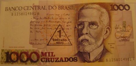 21 de Junho - Machado de Assis em homenagem do Banco Central na cédula de mil cruzados.