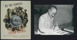 26 de Junho - 1945 – A Carta das Nações Unidas é assinada em San Francisco. Na foto, cartaz de promoção da 'Carta', e o líder chinês, Chiang Kai-shek, assinando a Carta das Nações Unidas.