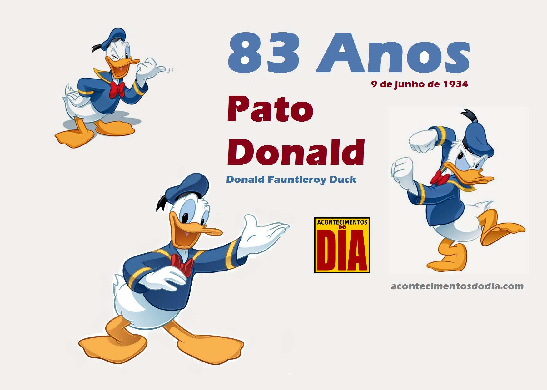 9 de junho 1934 pato donald personagem de desenhos animados e