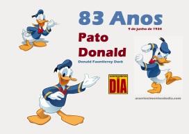 9 de Junho - 1934 — Pato Donald, personagem de desenhos animados e histórias em quadrinhos dos estúdios de Walt Disney.