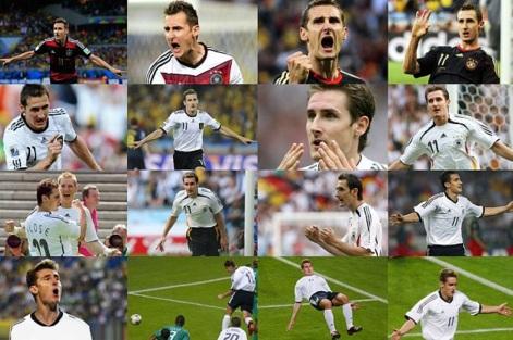 9 de Junho - 1978 — Miroslav Klose, futebolista, alemão, de origem polonesa - 16 fotos, dos 16 gols em copas do mundo.
