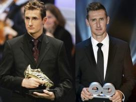 9 de Junho - 1978 — Miroslav Klose, futebolista, alemão, de origem polonesa - Recebendo prêmios.