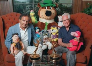 14 de Julho — Joseph Barbera e William Hanna, com os personagens que criaram.