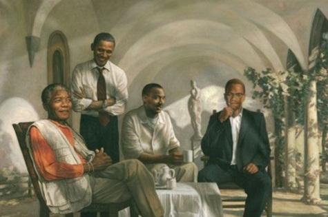 18 de Julho - Foto 14 - Pintura com oo maiores ícones do Movimento Negro no mundo - Nelson Mandela, Barack Obama, Martin Luther King Jr. e Malcolm X.