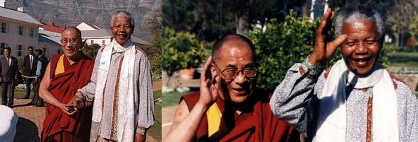 18 de Julho - Nelson Mandela - 1918 – 99 Anos em 2017 - Acontecimentos do Dia - Foto 17 - Com o Dalai Lama.