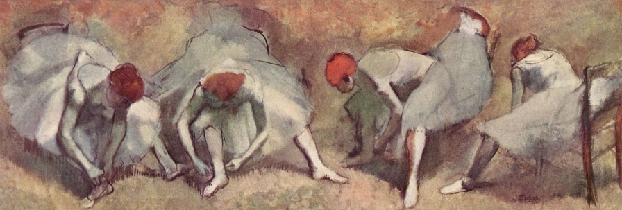 19 de Julho - Dançarinas atando as sapatilhas, cerca de 1893-1898, Museu de Arte de Clevland, Ohio - Edgar Degas.