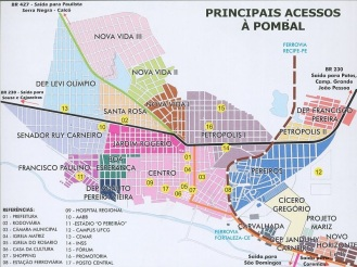 21 de Julho - Mapa com todos os bairros da cidade — Pombal (PB) — 155 Anos em 2017.