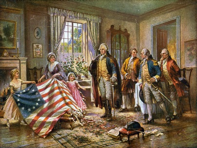 4 de Julho – 1960 – Adoção da atual Bandeira dos Estados Unidos, representando seus 50 estados. Foto - Betsy Ross e duas crianças apresentando a bandeira a George Washington.