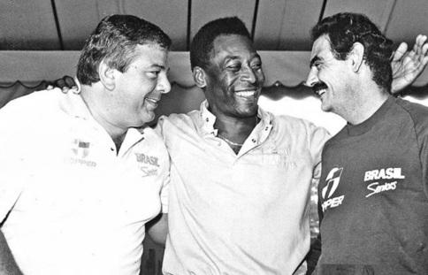 4 de Julho – Luciano do Valle com Pelé e Rivelino.
