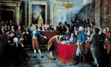 5 de Julho – 1811 – Independência da Venezuela, sendo o primeiro país da América do Sul a fazê-lo de Espanha. Foto - Assinatura da ata de independência da Venezuela em Caracas.