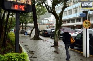 6 de Julho – Termômetro registrando oito graus no Parque Regadas em um típico dia de frio — Teresópolis (RJ) — 126 Anos em 2017.
