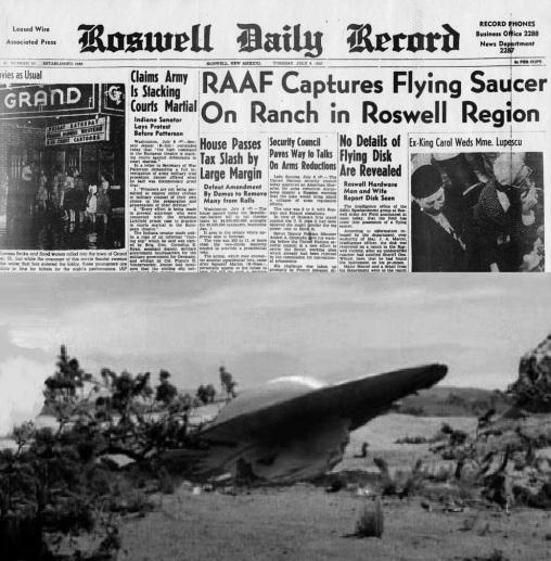 7 de Julho – 1947 — Um disco voador, que teria caído na cidade de Roswell, nos Estados Unidos, provocou um dos maiores mistérios do século.