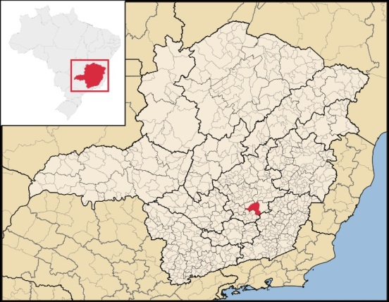 8 de Julho – Mapa de localização — Ouro Preto (MG) — 306 Anos em 2017.