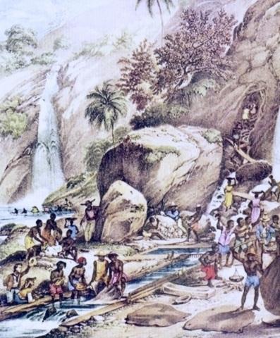 8 de Julho – Pintura de Johann Moritz Rugendas de 1820-1825 retratando a mineração de ouro por lavagem perto do Morro de Itacolomi — Ouro Preto (MG) — 306 Anos em 2017.