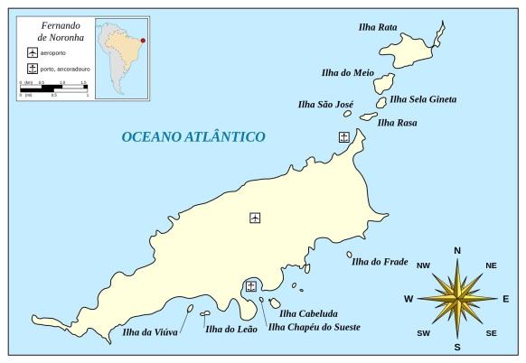 10 de Agosto – Mapa de localização — Fernando de Noronha (PE) — 514 Anos em 2017.