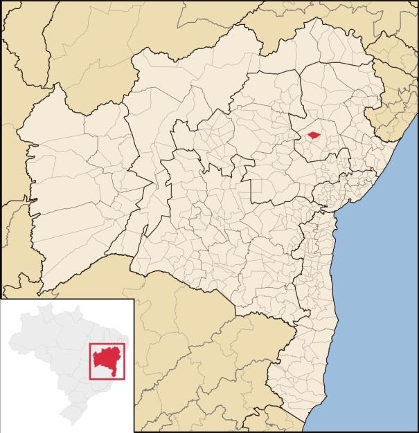 12 de Agosto – Mapa de localização — Valente (BA) — 59 Anos em 2017.