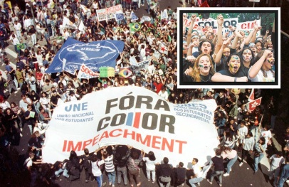 16 de Agosto – 1992 – Manifestantes saem às ruas de todo o Brasil para pedir a saída do presidente Fernando Collor de Mello.