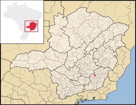 18 de Agosto – Mapa de localização — Porto Firme (MG) — 64 Anos em 2017.