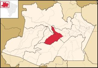 2 de Agosto – Mapa de localização — Coari (AM) — 85 Anos em 2017.