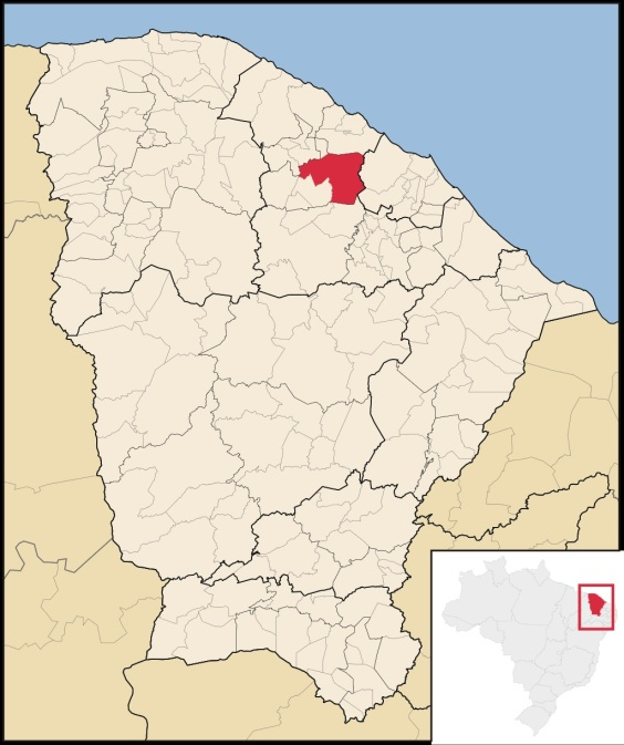 23 de Agosto — Mapa de localização — Pentecoste (CE) — 144 Anos em 2017.