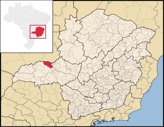 28 de Agosto — Mapa de localização — Araguari (MG) — 129 Anos em 2017.