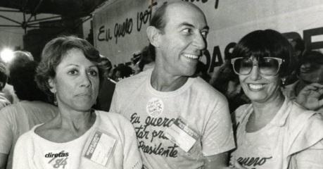 28 de Agosto — Raul Cortez - 1932 – 85 Anos em 2017 - Acontecimentos do Dia - Foto 23 - Dina Sfat, Raul Cortez e Ruth Escobar, nas Diretas Já.