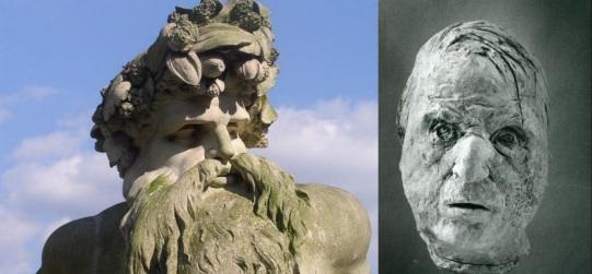 4 de Agosto – à esquerda, escultura de Bacon, Pai Tâmisa, em pedra de Coade, nos jardins da Ham House. à direita, máscara com o rosto de Bacon.