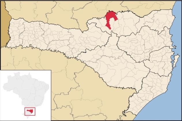 12 de Setembro – Mapa de localização — Canoinhas (SC) — 106 Anos em 2017.