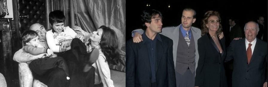 20 de Setembro – Sophia Loren - 1934 – 83 Anos em 2017 - Acontecimentos do Dia - Foto 19 - Sophia Loren com o marido, Carlo Ponti e os filhos, Carlo Jr. e Edoardo Ponti.