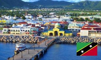 Cidade de Basseterre, capital de São Cristóvão e Nevis.