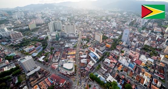 Cidade de Georgetown, capital da Guiana.
