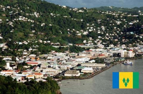 Cidade de Kingstown, capital de São Vicente e Granadinas.