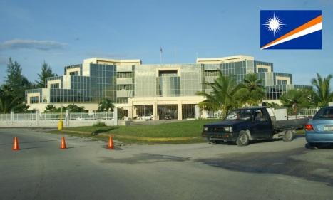 Cidade de Majuro, capital das Ilhas Marshall.